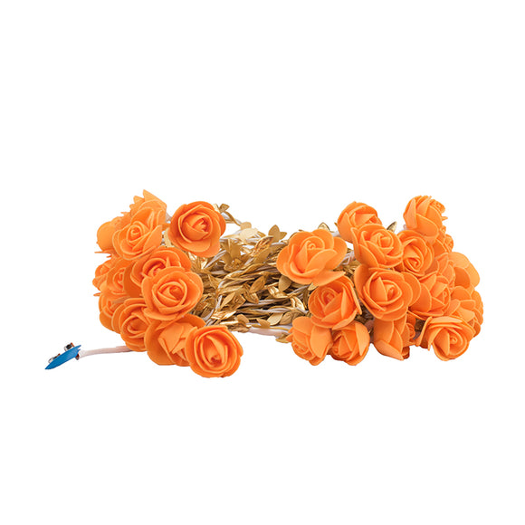 Orange Rose & Leaf String Lights
