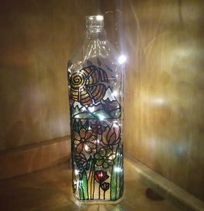 Stained glass effect bottle lamp