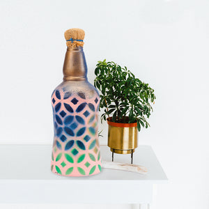 Pastel Geometric Recycled Bottle Lamp