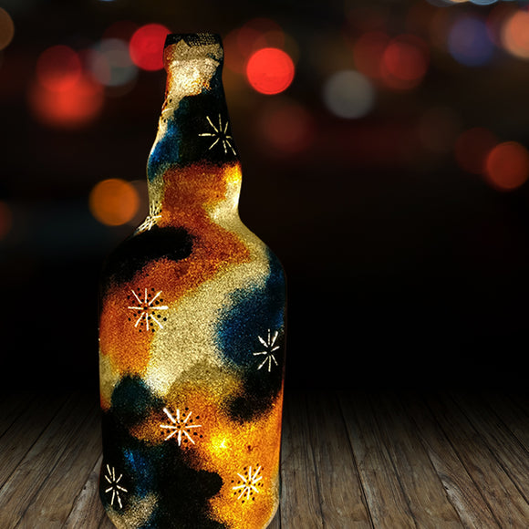 Psychedelic Night Recycled Bottle Lamp