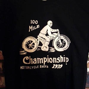 Vintage Motorcycle Race Shirt - 1939 - Knucklehead JD WR WLDR Flathead! Hillclimber! 100 Mile!