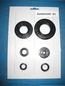 Kawasaki H1 500 Triple Mach 3 Engine Case Oil Seal Kit / Set KH500 Crank Kick Shift Clutch +