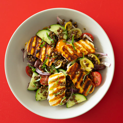 Brown Lentil & Halloumi Greek Salad