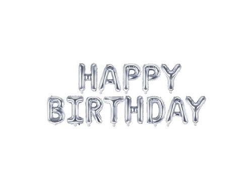 Happy Birthday Foil Banner - Silver Color - Instaparty.in