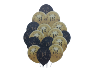18 Number Printed Theme Balloons - Pack of 10 - Instaparty.in