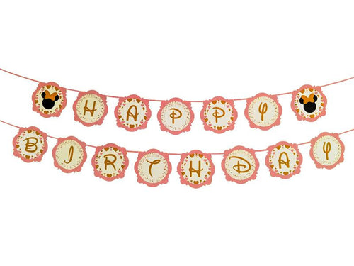 Minnie Happy Birthday Banner - Pink & Gold Colors - Instaparty.in