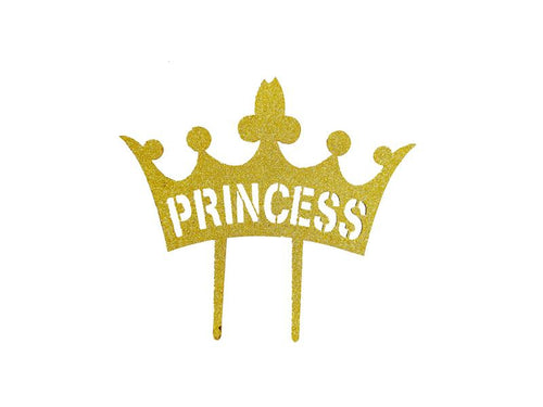 Princess Theme Cake Topper - Glitter Gold - Instaparty.in