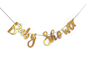 Baby Shower Cursive Banner - Gold Color - Instaparty.in