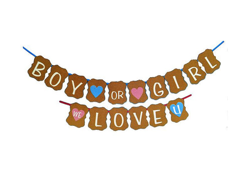Boy Or Girl, We Love You Banner - Gold Color - Instaparty.in