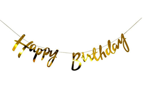 Happy Birthday Cursive Banner - Gold Color - Instaparty.in