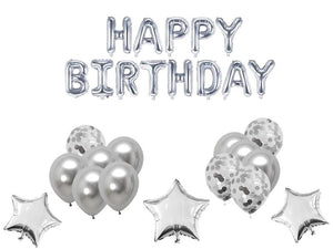 Happy Birthday Foil Combo - Silver Color - Instaparty.in