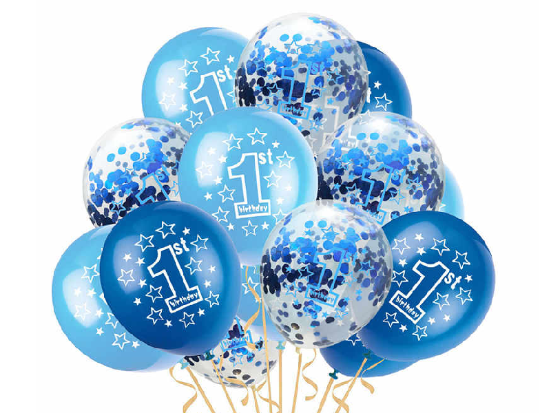 1st Birthday Special Balloon Set - Blue & Silver Colors - Pack of 12 - Instaparty.in