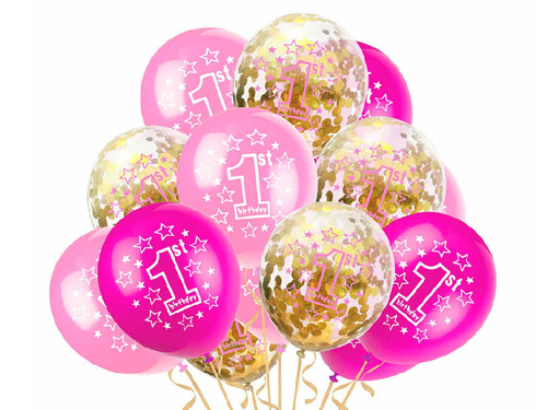 1st Birthday Special Balloon Set - Pink & Gold Colors - pack of 12 - Instaparty.in