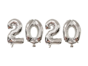 2020 New Year Number Foil Balloons - Silver Color - Instaparty.in