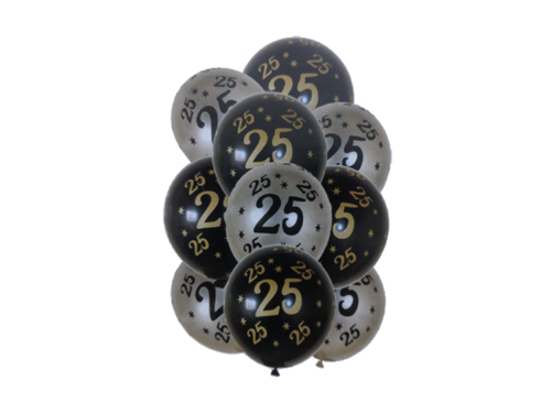 25 Number Printed Theme Balloons - Pack of 10 - Instaparty.in