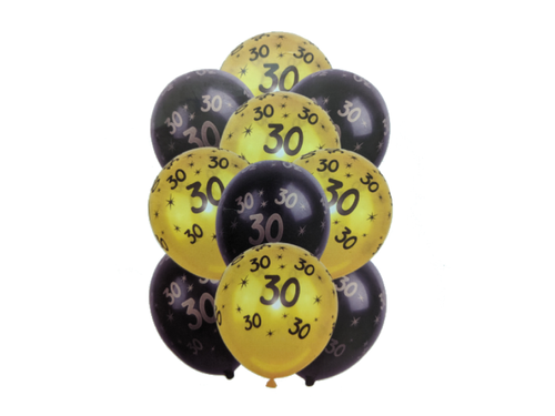 30 Number Printed Theme Balloons - Pack of 10 - Instaparty.in