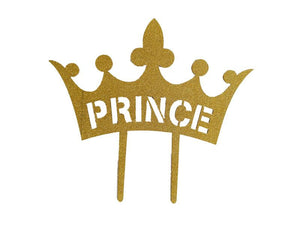 Prince Theme Cake Topper - Glitter Gold - Instaparty.in