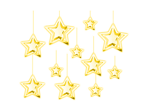 3D Foil Star Hangings - Pack of 11 - Gold Color - Instaparty.in