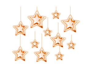 3D Foil Star Hangings - Pack of 11 - Rose Gold Color - Instaparty.in