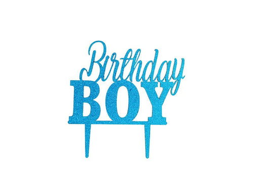 Birthday Boy Cake Topper - Glitter Blue - Instaparty.in