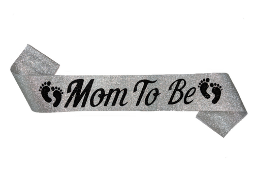 Mom To Be Sash - Silver Color - Instaparty.in