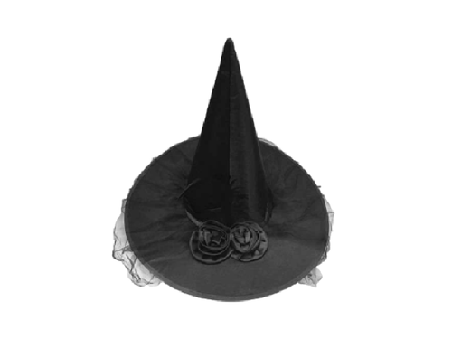 Black Witch Hat With Roses - Halloween - Instaparty.in