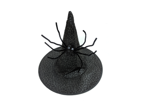 Black Witch Hat With Spider - Halloween - Instaparty.in