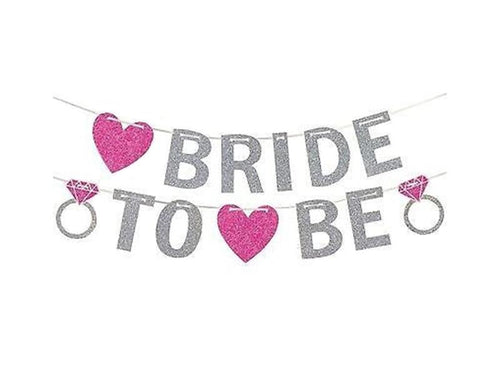 Bride To Be Glitter Letter Banner - Pink & Silver Colors - Instaparty.in