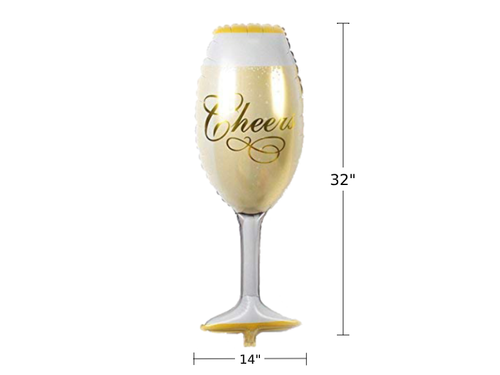 Champagne Glass Foil Balloon - White & Gold Colors - Instaparty.in