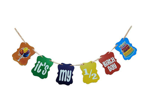 Its My Half Birthday Theme Banner - Multi Color - Instaparty.in