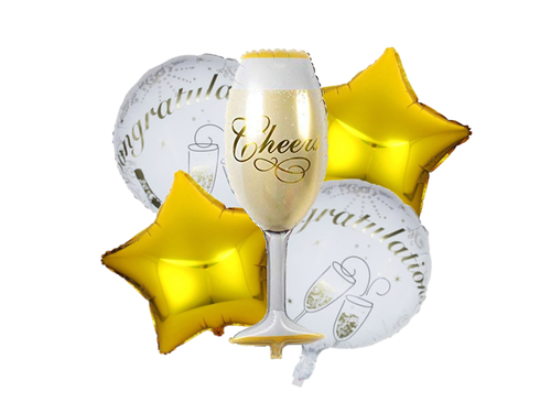 Congratulations Champagne Cheers Party Foil Combo - Gold & White Colors - Instaparty.in