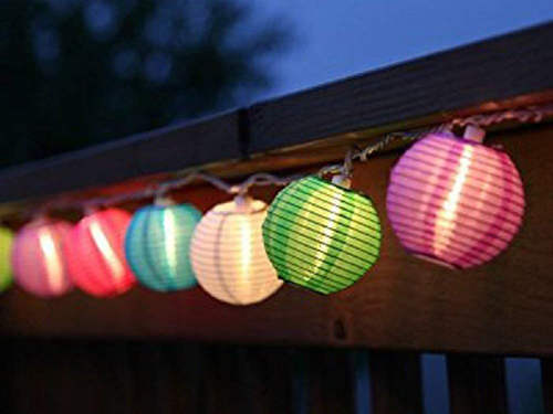 Decorative LED Paper Lanterns - Pack of 10 - Multi-color - Instaparty.in