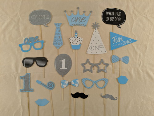 First Birthday Photo Props - Blue & Silver Colors - Instaparty.in