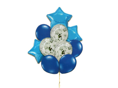 Foil And Confetti Balloon Combo - Blue Color - Instaparty.in