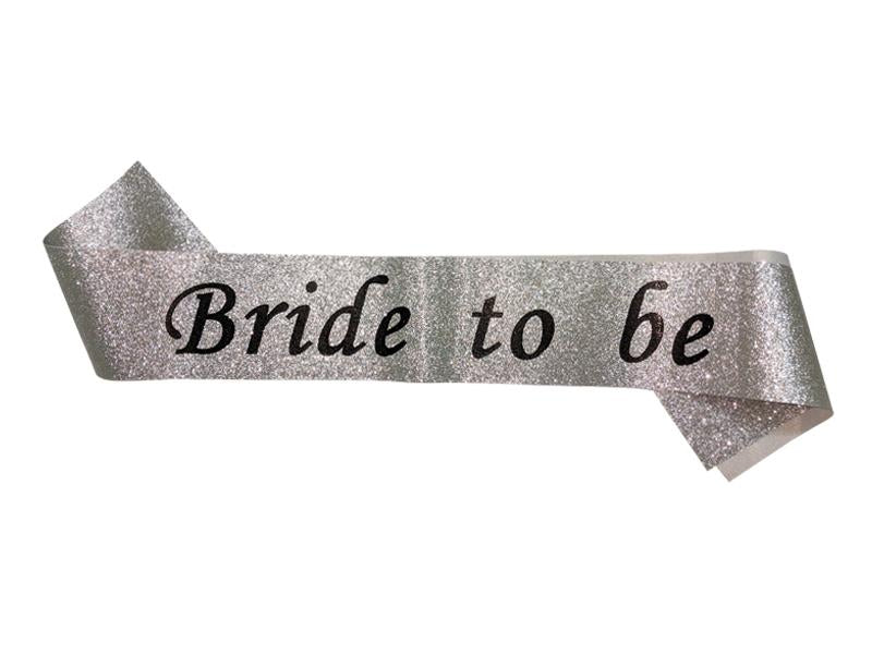 Glitter Bride To Be Sash - Silver Color - Instaparty.in