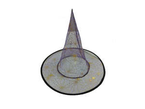 Gold & Purple Colored Transparent Witch Hat - Halloween - Instaparty.in