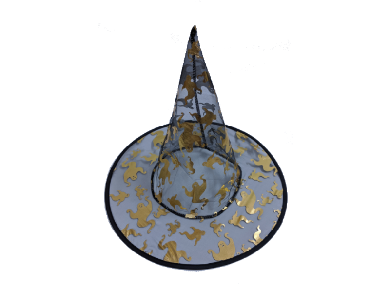 Gold Colored Transparent Witch Hat - Halloween - Instaparty.in