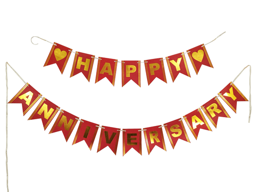 Happy Anniversary Banner - Red Color - Instaparty.in