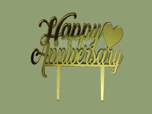 Happy Anniversary Cake Topper - Gold Color - Instaparty.in