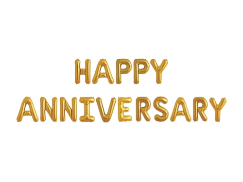 Happy Anniversary Letters Foil Balloons - Gold Color - Instaparty.in