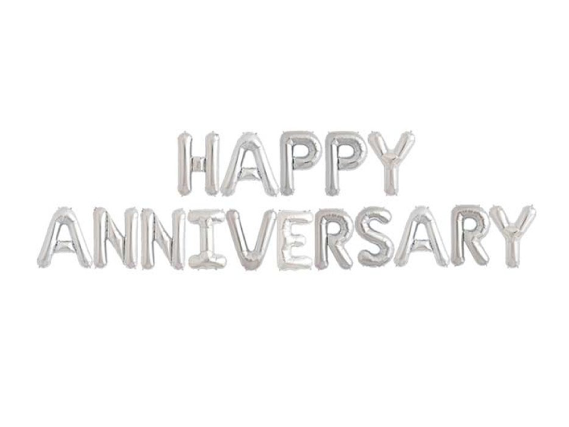 Happy Anniversary Letters Foil Balloons - Silver Color - Instaparty.in