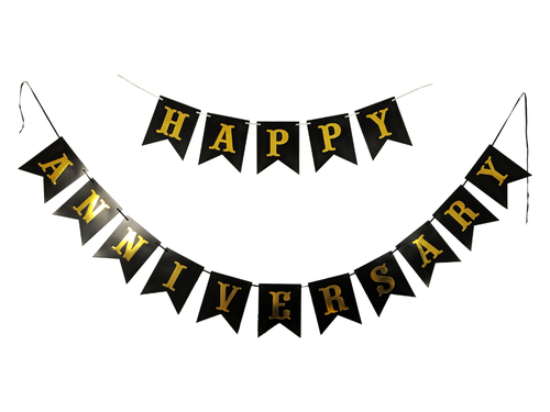 Happy Anniversay Banner - Black Color - Instaparty.in