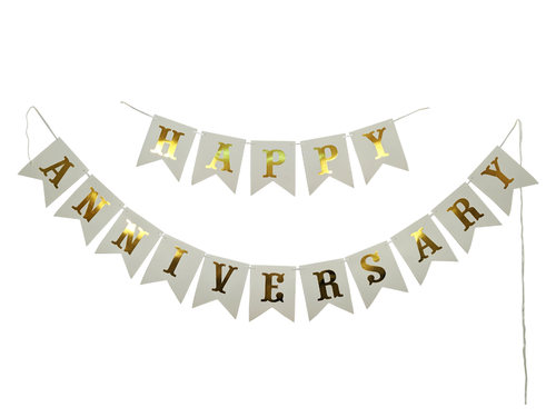 Happy Anniversay Banner - White Color - Instaparty.in
