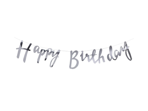 Happy Birthday Cursive Banner - Silver Color - Instaparty.in
