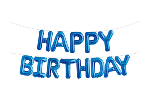 Happy Birthday LettersFoil Banner - Blue Color - Instaparty.in