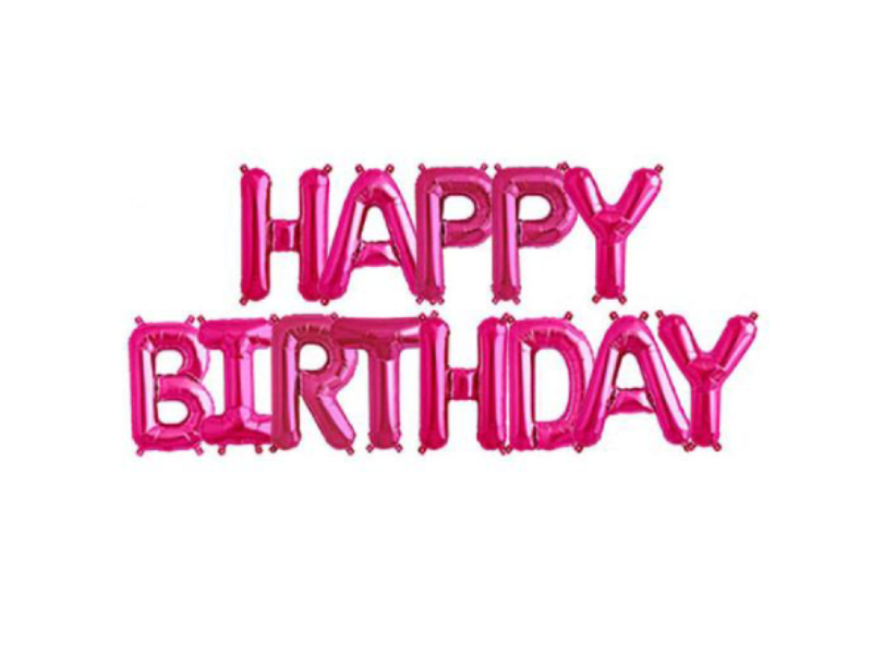 Happy Birthday Letters Foil Banner - Hot Pink Color - Instaparty.in