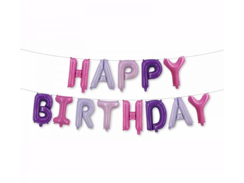 Happy Birthday LettersFoil Banner - Pastel Color - Instaparty.in