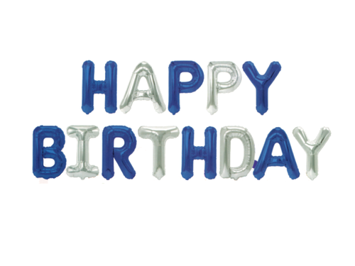 Happy Birthday Letters Foil Balloons - Blue & Silver Colors - Instaparty.in