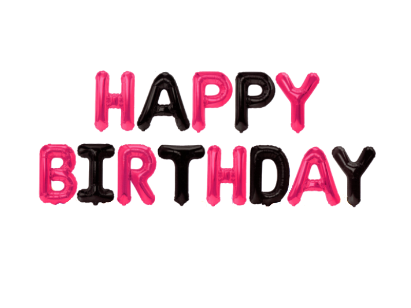 Happy Birthday Letters Foil Balloons - Pink & Black Colors - Instaparty.in