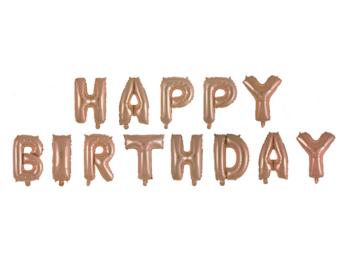 Happy Birthday Letters Foil Balloons Set - Rose Gold Color - Instaparty.in